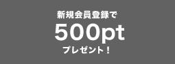 新規会員登録で500ptプレゼント!